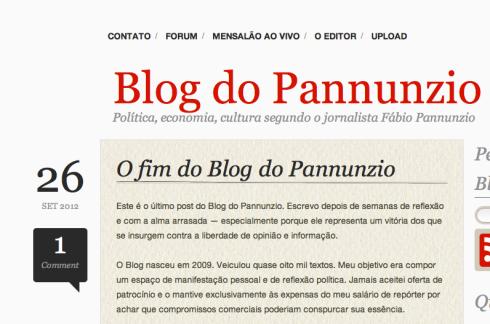 Blog do Pannunzio é censurado pelo governador de São Paulo, o tucano Geraldo Alckmin