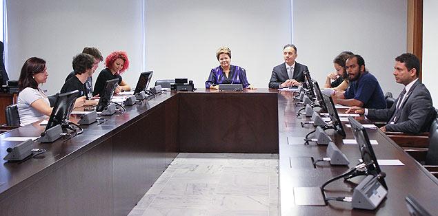 Dilma em reunião de hoje com o Movimento Passe Livre