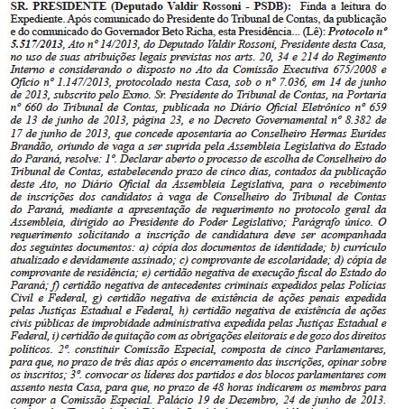 Publicado no Diário Oficial da Assembleia Legislativa do Paraná de 25.06.2013