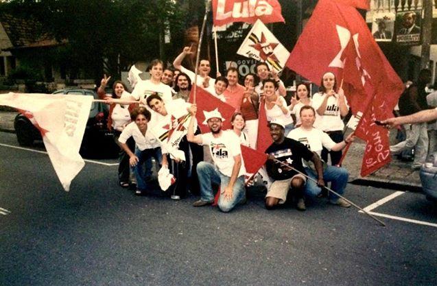 Em Curitiba na comemoração da vitória de Lula em 2002