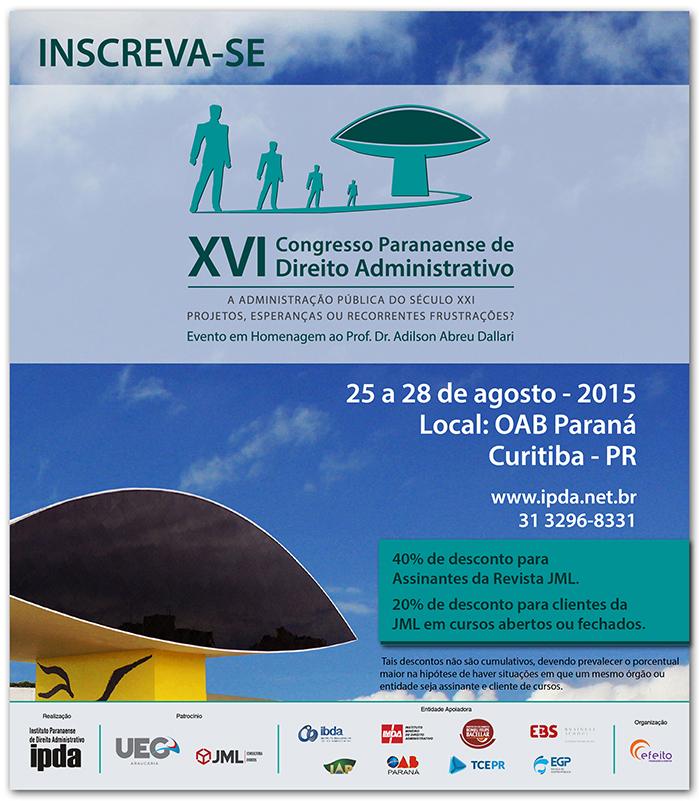 XVI Congresso Paranaense de Direito Administrativo - Inscreva-se
