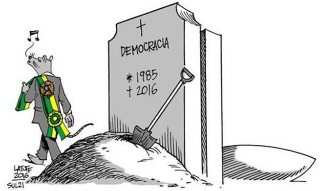 Como personagem de ficção do chamado realismo fantástico, a democracia brasileira morreu e voltou à cena duas vezes em nossa história, mas Latuff cometeu um equívoco nessa charge.